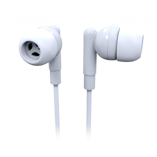 Earbud Headphone with Mic in White