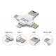 USB 4 in 1 Card Reader Hub with Type C, Lighting and Micro USB