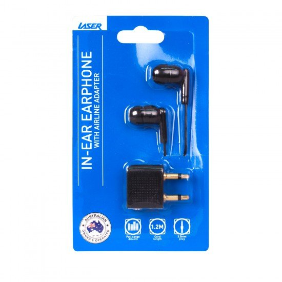 Laser Headphones with Dual 3.5mm Airline Travel Adapter