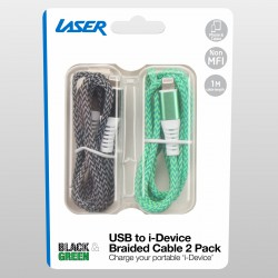 Laser Braided Lightning Cable 2 Pack - Black and Green
