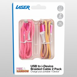 Laser Braided Lightning USB Cable 2 Pack - Pink and Rainbow