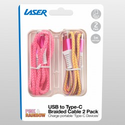 Laser Braided USB Type-C Cable 2 Pack Pink and Rainbow