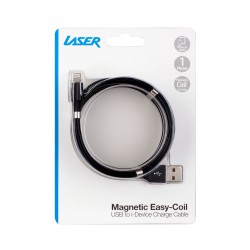 Laser Magnetic Easy Coil Lightning to USB Cable 1M Black