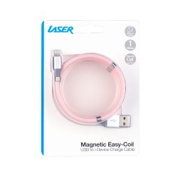 Laser Magnetic Easy Coil Lightning to USB Cable 1M Pink