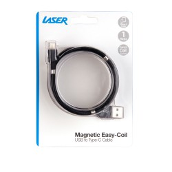 Laser Magnetic Easy Coil Type-C to USB Cable 1M Black