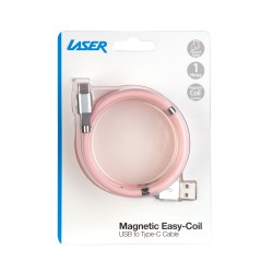 Laser Magnetic Easy Coil Type-C to USB Cable 1M Pink