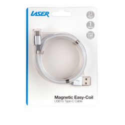 Laser Magnetic Easy Coil Type-C to USB Cable 1m White
