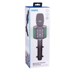 Laser Bluetooth Karaoke Microphone with Built-in Speaker and LED Lights - Black