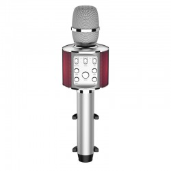 Laser Bluetooth Karaoke Microphone with Built-in Speaker and LED Lights - Silver