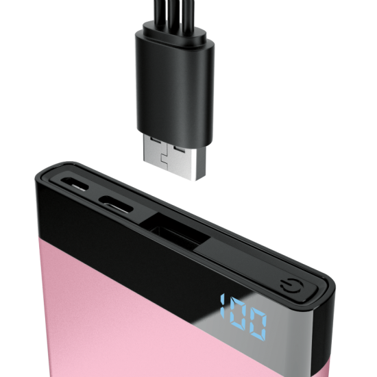 Laser 5000mAh Power Bank with 3-in-1 Cable and LED display Pink