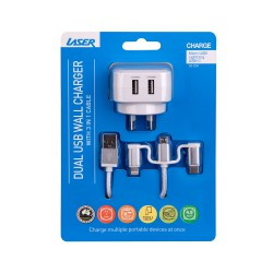 Dual USB AC Charger with 3 in 1 Charging Cable WHITE