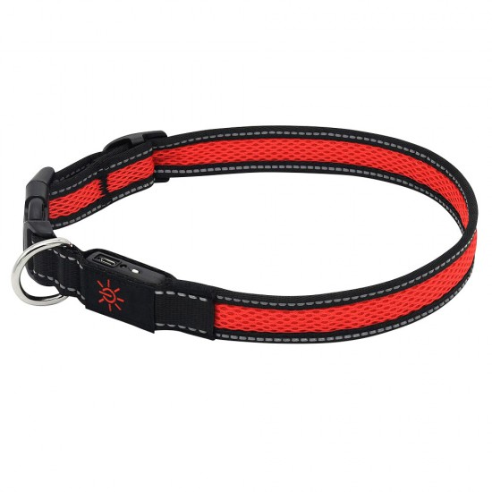 Rechargeable LED Mesh Reflective Collar Medium Size Red