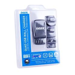 4 Port USB Travel Charger (AU EU USA) - BLACK