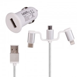 2.4A Car Charger with 3 in 1 Charging Cable, White
