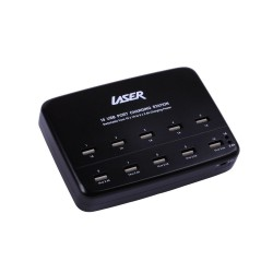 10 Port USB Charging Station 10x1A / 5x2.4A Safety Approval w/Cable Black Travel