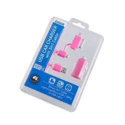 2.4A Car Charger with 3 in 1 Charging Cable PINK