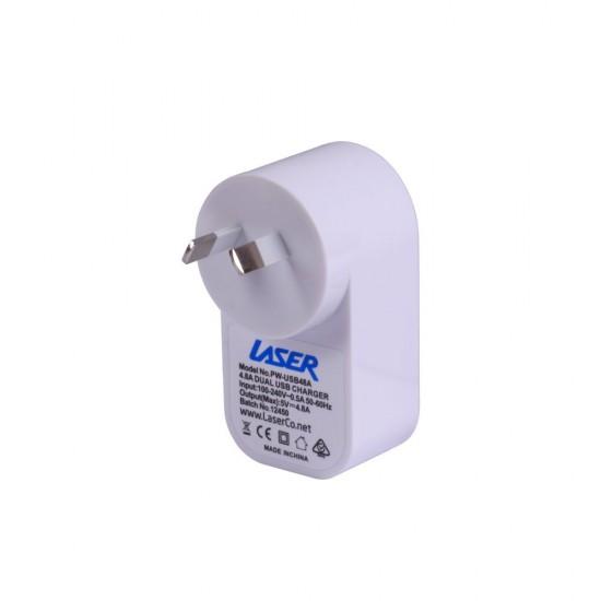 AC Wall Charger Twin USB 2 x 12 Watt (2.4A) Output Blue