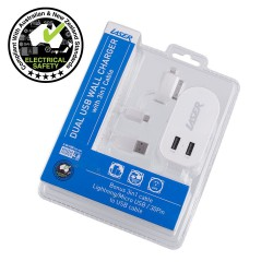 AC Wall Charger Twin USB   2 x 2.4A Output with 3 in 1 Cable WHT