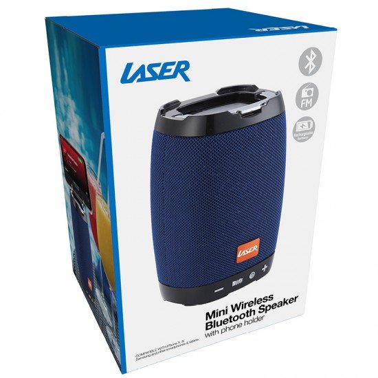 Laser Bluetooth Speaker with Phone Holder, Blue