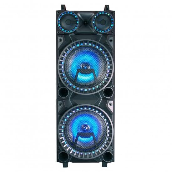 """Floor Speaker 12"""" x 2, 60w, LED Lights, Karaoke, USB, BT, FM Radio, MP3 Playback"""