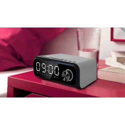 Laser Alarm Clock Qi Wireless Charging with Bluetooth Speaker Grey