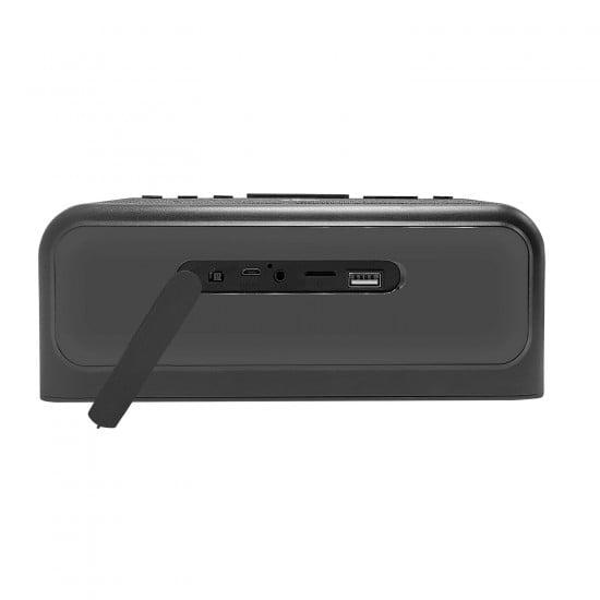 4-in-1 Digital Alarm Clock Radio with Qi Wireless Charging and Bluetooth Speaker (Grey)